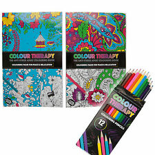 A4 ADULT COLOURING BOOK WITH 12 PACK COLOURING PENCILS STRESS SOOTHING RELAXING