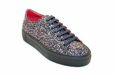 Scarpe sneakers donna pelle glitter multicolor lacci made in Italy