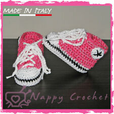 CROCHET BABY SHOES SCARPINE A UNCINETTO BRILLANTINATE SNEAKERS ALL STAR CONVERSE