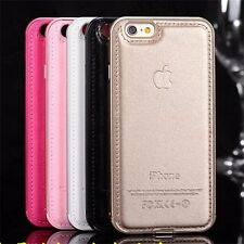 HYBRIDE metallo Bumper + PU Custodia Case Cover per Apple iPhone 5 SE 6 6s PLUS