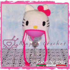 CROCHET BABY HAT CAPPELLINO BIMBA HELLO KITTY A UNCINETTO NEONATO IDEA REGALO