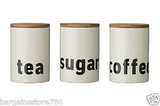 Mono Tea Coffee Sugar Canister Set Kitchen Jars with White Dolomite Bamboo Lid