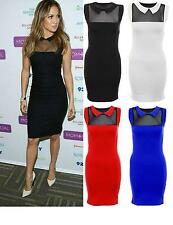 LADIES PETER PAN COLLAR BODYCON DRESS WOMENS CELEB LOOK MESH INSERT TOP J-LO