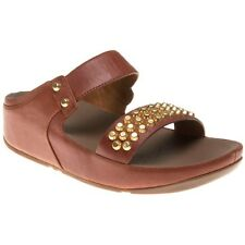 New Womens FitFlop Tan Amsterdam Studded Slide Leather Sandals Slides Slip On