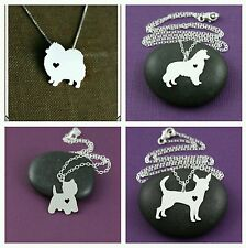 Dog Silhouette Necklace,18 different Breeds. Womens Gift