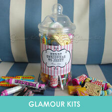 PERSONALISED RETRO SWEETS VICTORIAN JAR PARTY WEDDING VALENTINE X'MAS GIFT