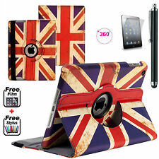 UK Union Jack FINE Leather 360° Smart Stand Case Cover For APPLE iPad 2,3,4 Gen