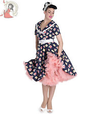 HELL BUNNY 50's EMMA vintage style FLORAL POLKA DOT rockabilly DRESS NAVY BLUE