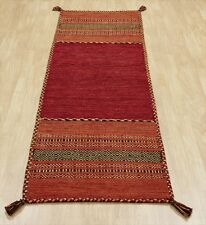 KILIM Red Cotton & Chenille Handwoven DHURRIE Rug Runner Cushion XS - L -30%OFF