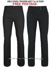 Girls Black School Trousers Kids Age 7-16 Quality Stretch School Pants Trousers.