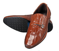 Adamis Mens New Slip On Formal Shoes Brown Genuine Leather GCH-3