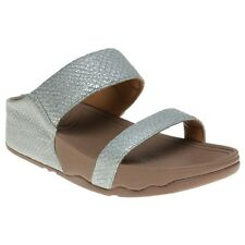 New Womens FitFlop Blue Lulu Slide Leather Sandals Slides