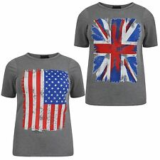 New Womens Plus Size Grey American,Union Jack Flag Print Tee Tops 12-26