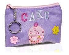 New Girls Cute Cupcake Soft Fluffy Coin Purse Wallet With Key Chain