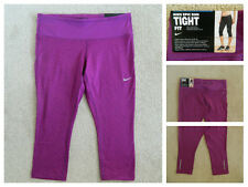 Nike Dri-Fit Epic Run Tight Fit Purple 3/4 Capri Running Gym Leggings M_L