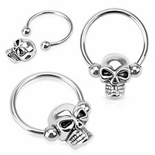 Captive Bead Ring ball closure ring Skull Surgical Steel 14g 16g Sizes 12mm
