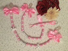 PERSONALISED FEATHER 3 PIECE BANNER PRAM CHARM SET INC DUMMY CLIP, BAG CHARM