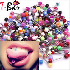 1 - 100 Tongue Piercing Tongue Bar Surgical Steel  Bright UV Body Jewellery UK