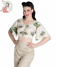 HELL BUNNY SAFARI zebra CROPPED TOP blouse CREAM