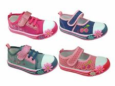 Girls Chatterbox Infant Canvas Low Top Pumps Princess Trainers Shoe Boot