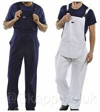 Bib and Brace Overalls Decorators Painters Coveralls Dungarees DIY White Blue