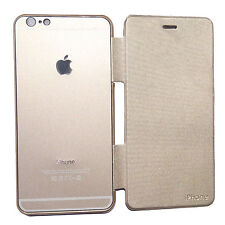 Imported Metal Logo Flip Diary Back Cover Case For Apple iPhone 6 iPhone 6Plus