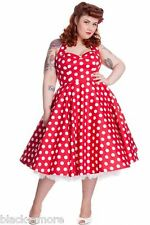 Hell Bunny Red Mariam Polka Dot Dress 50s Pin Up Rockabilly Retro Size 4XL