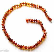 Natural Baltic amber necklace 45 cm, cognac baroque round beads, healing jewelry