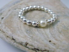 Sterling Silver Pearl Beaded Ring, Stacking Stretch toe ring and Swarovski Pearl