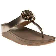 New Womens FitFlop Metallic Blossom 2 Leather Sandals Flip Flops