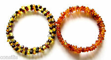 Natural Baltic amber spiral bracelet, baroque (rounded) beads, gemstone jewelry