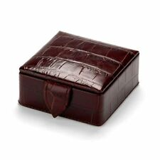 Aspinal Of London Amazon Brown Croc Small Stud Box. RRP £75. Embossed Details.
