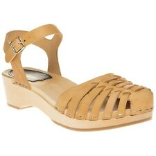 New Womens Swedish Hasbeens Natural Tan Snake Debutant Leather Sandals Clogs