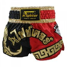 4Fighter Muay Thai Shorts Kickbox / Thaibox Hose rot schwarz mit 4Fighter in Tha