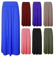 NEW LADIES FOLD OVER PLEATED HIGH WASTED JERESY MAXI GYPSY SKIRT DRESS 8 - 14