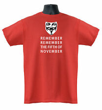 V for Vendetta Remember Fifth Of November Men's Ladies T-Shirts S-XXL