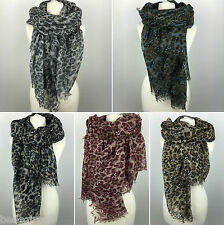 LARGE Skull & Leopard Frayed Print Scarf / Shawl / Wrap | *UK Seller* NEXT DAY