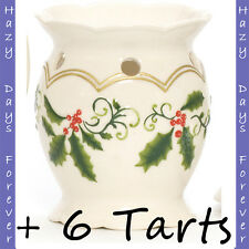 YANKEE CANDLE Winter Holly TART BURNER plus 6 Christmas TARTS oil warmer XMAS