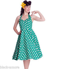 Hell Bunny Green Mariam Polka Dot Dress 50s Pin Up Rockabilly Retro Size XS