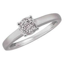 """Sterling Silver 0.10ct Natural Diamond """"Solitaire Illusion"""" Cluster Ring"""
