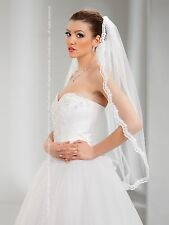 """New 1T White Ivory Wedding Prom Bridal Fingertip Veil With Comb 36""""- Lace Edge"""