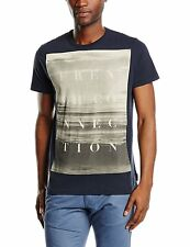 French Connection Summer Beach Print Graphic T-Shirt Blue Slim Fit Cotton Tee