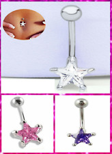 Surgical Steel 3 Colour Star Dangle Belly Button Rings Body Piercing Navel Bar