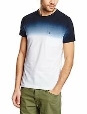 French Connection Summer Dip Dye Fashion T-Shirt Blue White Slim Fit Cotton Tee
