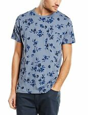 French Connection Ink Floral Fashion T-Shirt Blue Pattern Slim Fit Cotton Tee