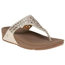 New Womens FitFlop Natural Metallic Carmel Toe Post Suede Sandals Flip Flops