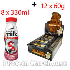 8 x 330ml Maximuscle Protein Ready To Drink + 12 x 60g Grenade Carb Killa Bars