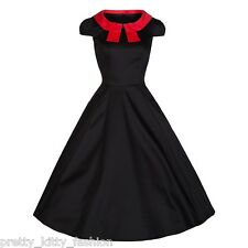 PRETTY KITTY ROCKABILLY 50s BLACK RED COCKTAIL SWING PROM PARTY DRESS 8-18