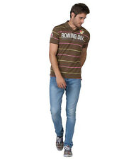 Duke Stardust Slim Fit Polo Collar Half Sleeves Striped Cotton Blend Men T-shirt
