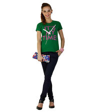 Duke Stardust  Half Sleeves Statement Printed Cotton Blend Womens T-shirt & Top
